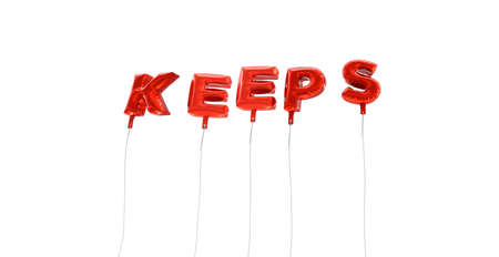 KEEPS - word made from red foil balloons - 3D rendered.  Can be used for an online banner ad or a print postcard. Stock Photo