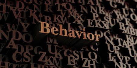behavior: Behavior - Wooden 3D rendered lettersmessage.  Can be used for an online banner ad or a print postcard.