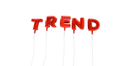 single word: TREND - word made from red foil balloons - 3D rendered.  Can be used for an online banner ad or a print postcard.