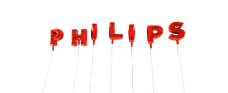 PHILIPS - word made from red foil balloons - 3D rendered.  Can be used for an online banner ad or a print postcard.