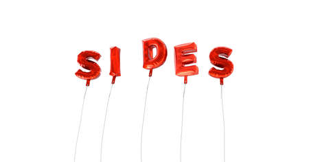 SIDES - word made from red foil balloons - 3D rendered.  Can be used for an online banner ad or a print postcard.