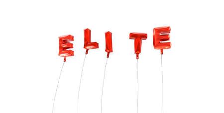 copy text: ELITE - word made from red foil balloons - 3D rendered.  Can be used for an online banner ad or a print postcard.