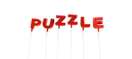 PUZZLE - word made from red foil balloons - 3D rendered.  Can be used for an online banner ad or a print postcard. Stock Photo