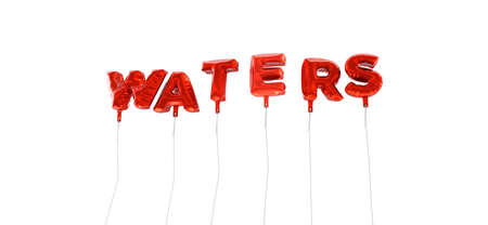 waters: WATERS - word made from red foil balloons - 3D rendered.  Can be used for an online banner ad or a print postcard. Stock Photo