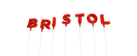 bristol: BRISTOL - word made from red foil balloons - 3D rendered.  Can be used for an online banner ad or a print postcard. Stock Photo
