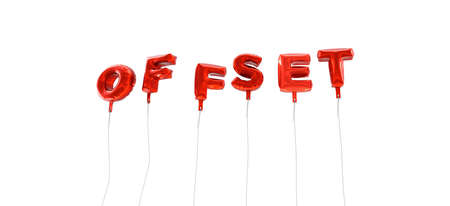 OFFSET - word made from red foil balloons - 3D rendered.  Can be used for an online banner ad or a print postcard.