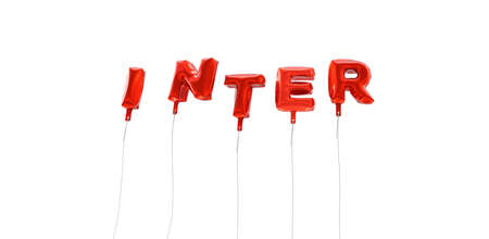 INTER - word made from red foil balloons - 3D rendered.  Can be used for an online banner ad or a print postcard.