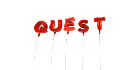 quest: QUEST - word made from red foil balloons - 3D rendered.  Can be used for an online banner ad or a print postcard.