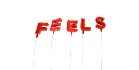 FEELS - word made from red foil balloons - 3D rendered.  Can be used for an online banner ad or a print postcard.