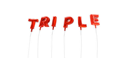 TRIPLE - word made from red foil balloons - 3D rendered.  Can be used for an online banner ad or a print postcard. Фото со стока