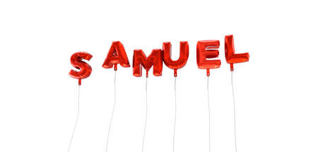 samuel: SAMUEL - word made from red foil balloons - 3D rendered.  Can be used for an online banner ad or a print postcard.