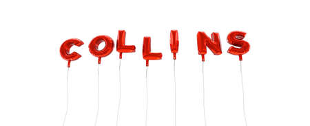 COLLINS - word made from red foil balloons - 3D rendered.  Can be used for an online banner ad or a print postcard.