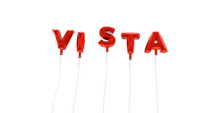 vista: VISTA - word made from red foil balloons - 3D rendered.  Can be used for an online banner ad or a print postcard.