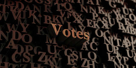 votes: Votes - Wooden 3D rendered lettersmessage.  Can be used for an online banner ad or a print postcard. Stock Photo