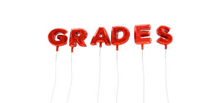 GRADES - word made from red foil balloons - 3D rendered.  Can be used for an online banner ad or a print postcard. Stock Photo