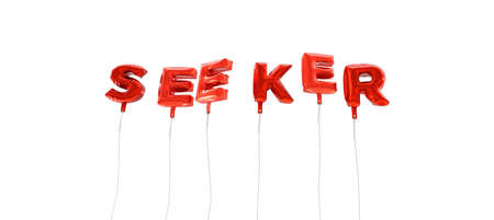 SEEKER - word made from red foil balloons - 3D rendered.  Can be used for an online banner ad or a print postcard.