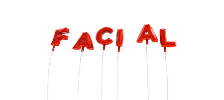 FACIAL - word made from red foil balloons - 3D rendered.  Can be used for an online banner ad or a print postcard. Stock Photo