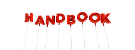 HANDBOOK - word made from red foil balloons - 3D rendered.  Can be used for an online banner ad or a print postcard. Stock Photo