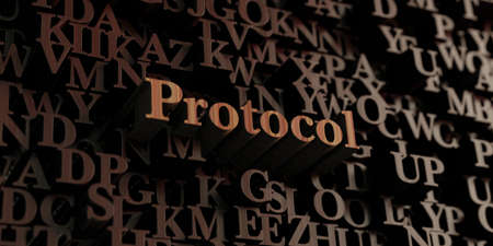 protocol: Protocol - Wooden 3D rendered lettersmessage.  Can be used for an online banner ad or a print postcard.