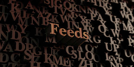 feeds: Feeds - Wooden 3D rendered lettersmessage.  Can be used for an online banner ad or a print postcard.