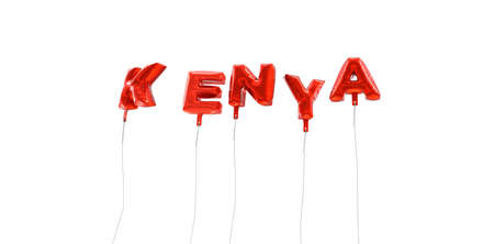 kenya: KENYA - word made from red foil balloons - 3D rendered.  Can be used for an online banner ad or a print postcard. Stock Photo