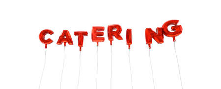 CATERING - word made from red foil balloons - 3D rendered.  Can be used for an online banner ad or a print postcard.