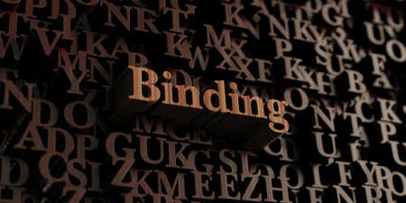 binding: Binding - Wooden 3D rendered lettersmessage.  Can be used for an online banner ad or a print postcard.