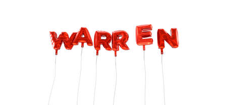 wording: WARREN - word made from red foil balloons - 3D rendered.  Can be used for an online banner ad or a print postcard.