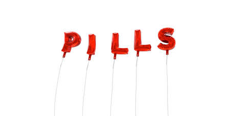 wording: PILLS - word made from red foil balloons - 3D rendered.  Can be used for an online banner ad or a print postcard.