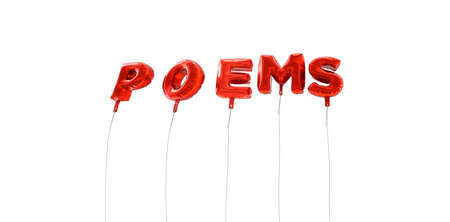 poems: POEMS - word made from red foil balloons - 3D rendered.  Can be used for an online banner ad or a print postcard. Stock Photo