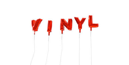 wording: VINYL - word made from red foil balloons - 3D rendered.  Can be used for an online banner ad or a print postcard.