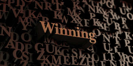wording: Winning - Wooden 3D rendered lettersmessage.  Can be used for an online banner ad or a print postcard.