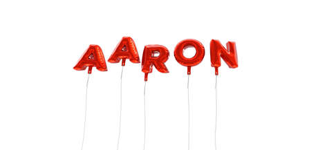 AARON - word made from red foil balloons - 3D rendered.  Can be used for an online banner ad or a print postcard.