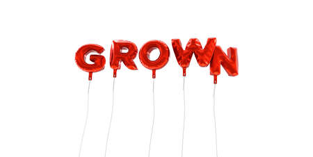 GROWN - word made from red foil balloons - 3D rendered.  Can be used for an online banner ad or a print postcard.