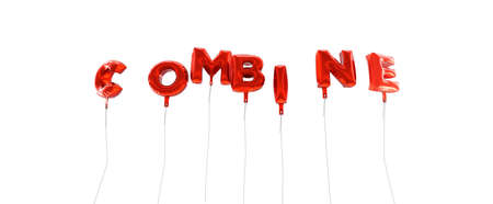 wording: COMBINE - word made from red foil balloons - 3D rendered.  Can be used for an online banner ad or a print postcard.