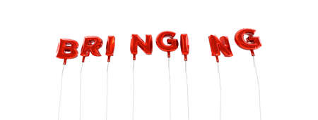 wording: BRINGING - word made from red foil balloons - 3D rendered.  Can be used for an online banner ad or a print postcard. Stock Photo