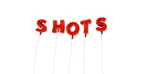 SHOTS - word made from red foil balloons - 3D rendered.  Can be used for an online banner ad or a print postcard.