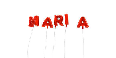maria: MARIA - word made from red foil balloons - 3D rendered.  Can be used for an online banner ad or a print postcard.