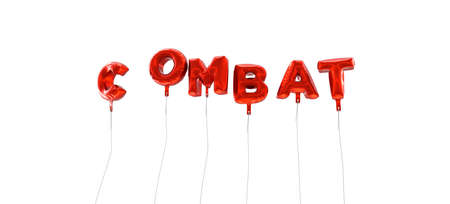 COMBAT - word made from red foil balloons - 3D rendered.  Can be used for an online banner ad or a print postcard. Stock Photo