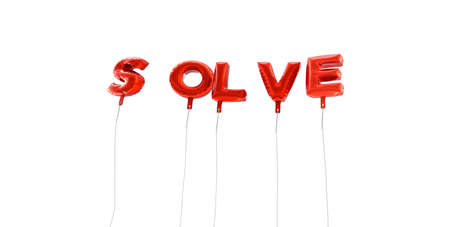 solve: SOLVE - word made from red foil balloons - 3D rendered.  Can be used for an online banner ad or a print postcard.