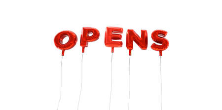 wording: OPENS - word made from red foil balloons - 3D rendered.  Can be used for an online banner ad or a print postcard. Stock Photo