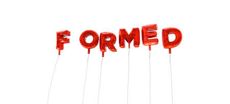 formed: FORMED - word made from red foil balloons - 3D rendered.  Can be used for an online banner ad or a print postcard.