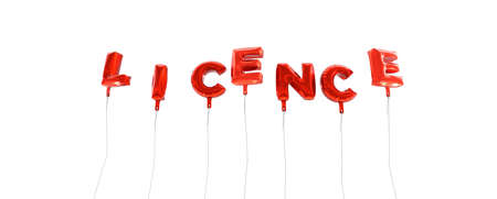 licence: LICENCE - word made from red foil balloons - 3D rendered.  Can be used for an online banner ad or a print postcard.