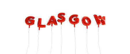 GLASGOW - word made from red foil balloons - 3D rendered.  Can be used for an online banner ad or a print postcard.