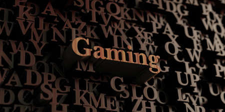 wording: Gaming - Wooden 3D rendered lettersmessage.  Can be used for an online banner ad or a print postcard.