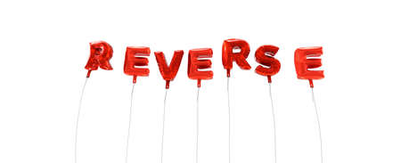 REVERSE - word made from red foil balloons - 3D rendered.  Can be used for an online banner ad or a print postcard. Stock Photo