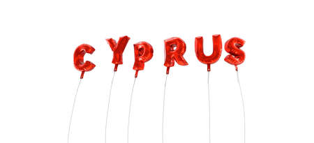 wording: CYPRUS - word made from red foil balloons - 3D rendered.  Can be used for an online banner ad or a print postcard.