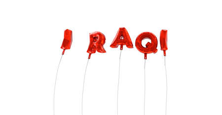wording: IRAQI - word made from red foil balloons - 3D rendered.  Can be used for an online banner ad or a print postcard.