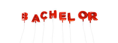 BACHELOR - word made from red foil balloons - 3D rendered.  Can be used for an online banner ad or a print postcard. Stock Photo