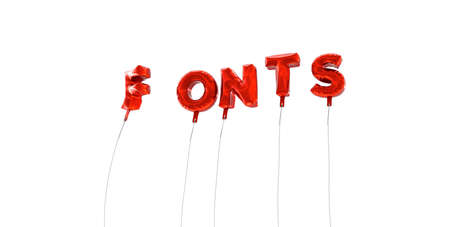 wording: FONTS - word made from red foil balloons - 3D rendered.  Can be used for an online banner ad or a print postcard.